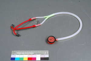 Made by Glia Project  Date: 2015 Place: Gaza, Palestinian Authority art. no. 2017.0002 Ingenium: Canada's Museums of Science and Innovation. As part of the Glia project for Open Medical Devices, Canadian Physician Tarek Loubani and his colleagues developed this 3D printed stethoscope that was cheap and easy to produce, while having exceptional sound quality. They first made and used this stethoscope in Gaza, Palestinian Authority due to shortages of medical instruments.