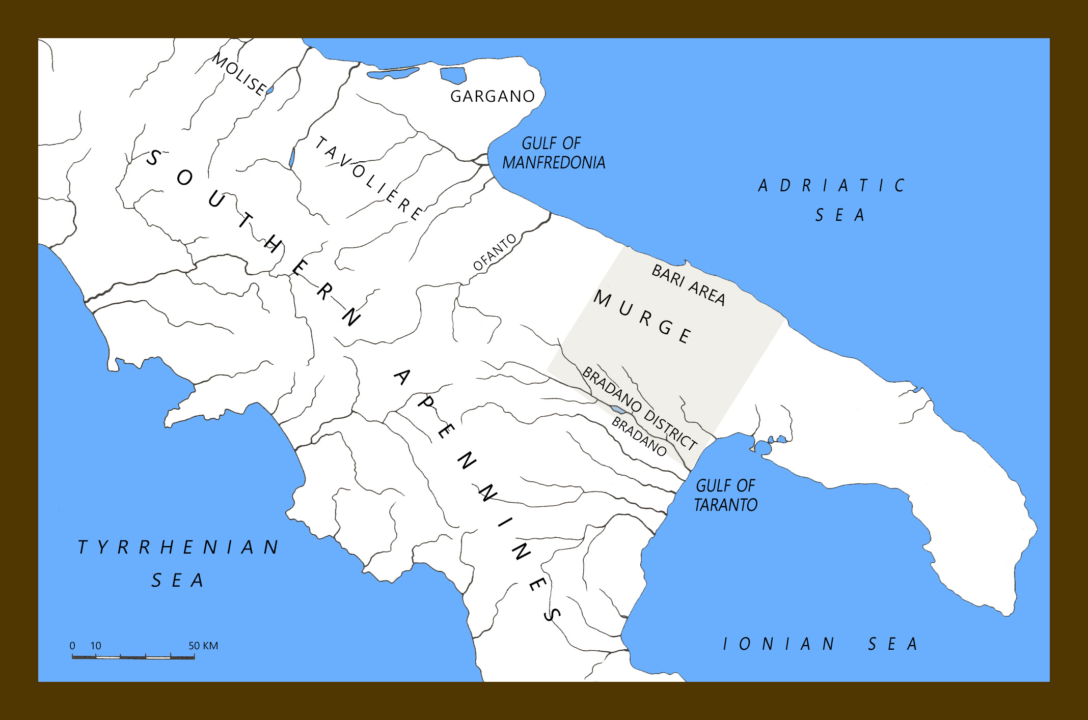 Map Of South Italy.Map Of South Italy Showing Geography And Ancient Peucetia Museum