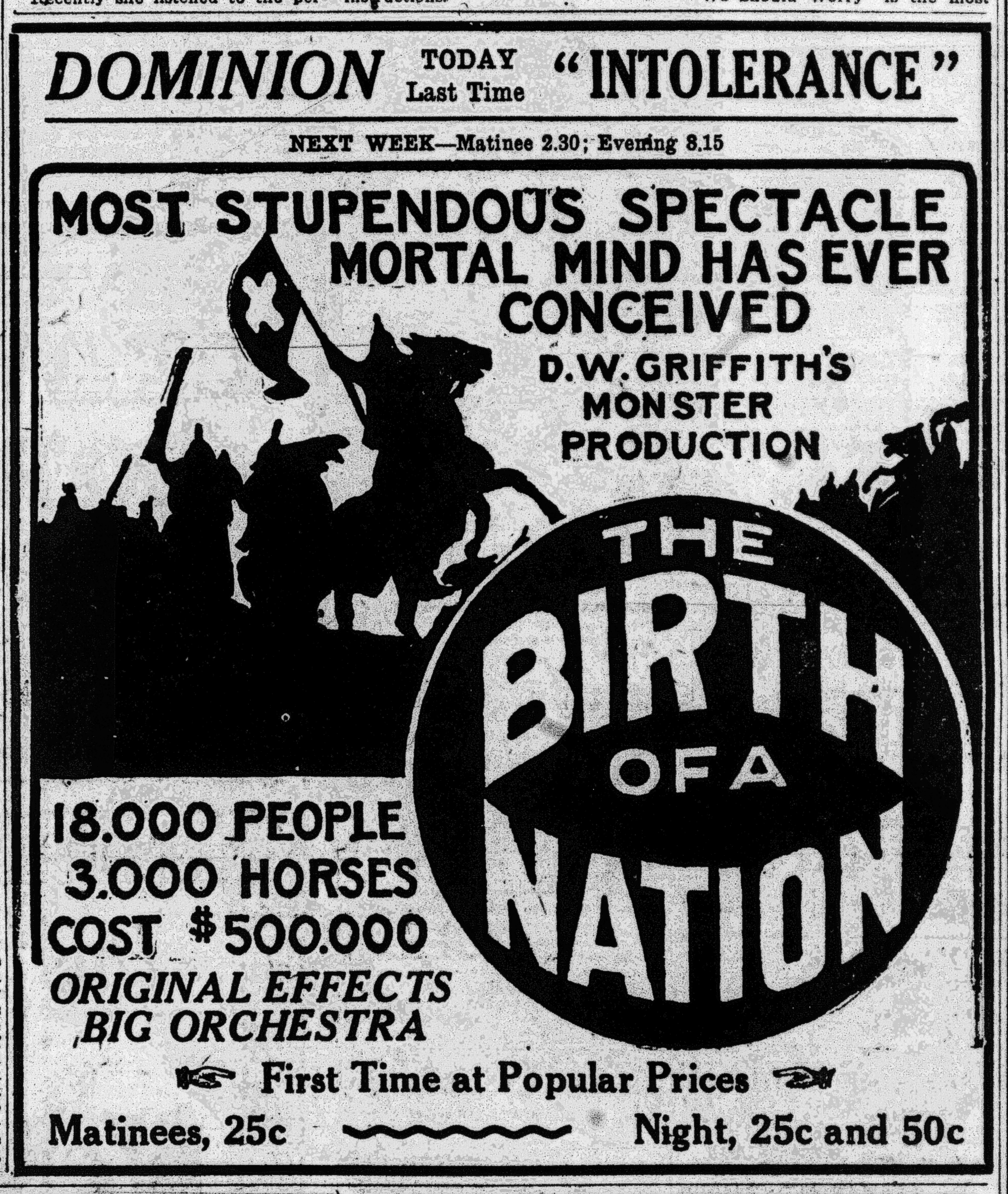 the birth of a nation at the dominion theatre advertisement