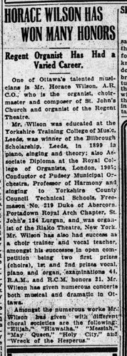 """Horace Wilson Has Won Many Honors: Regent Organist Has Had a Varied Career"" [article]"