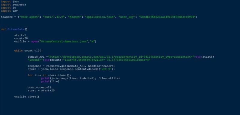 Zomato API Call (screen capture of code)