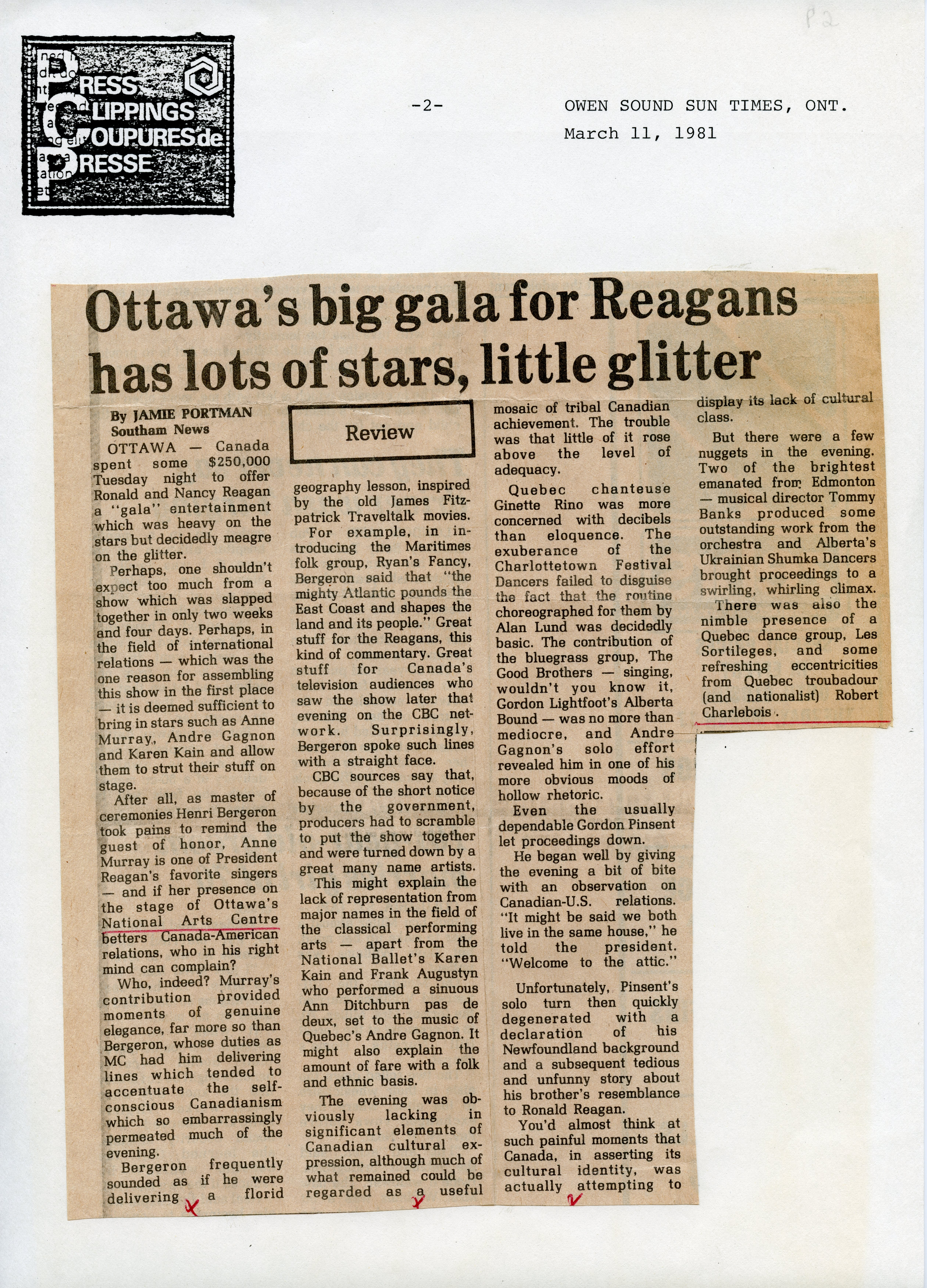 Ottawa's Big Gala for Reagan has Lots of Stars, Little