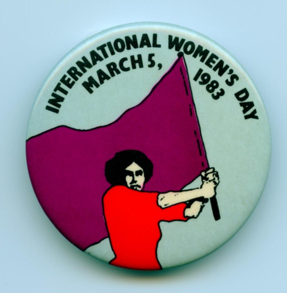 International Women's Day political button, 1987