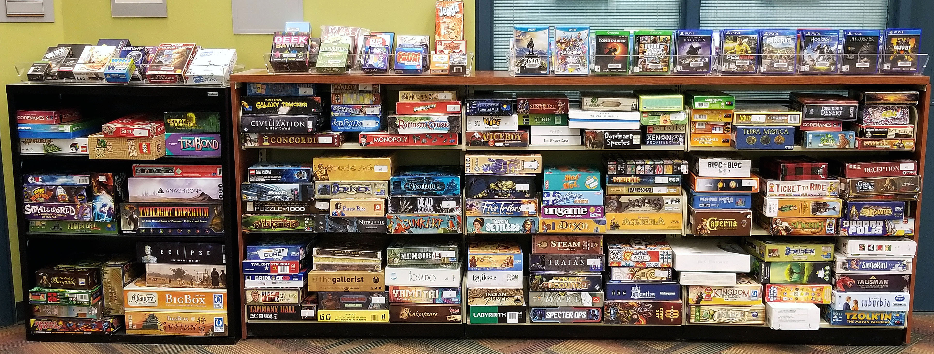 The Library's video game and board game collection.