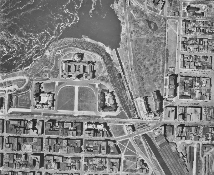 Air photo showing Parliament Hill in Ottawa from 1928