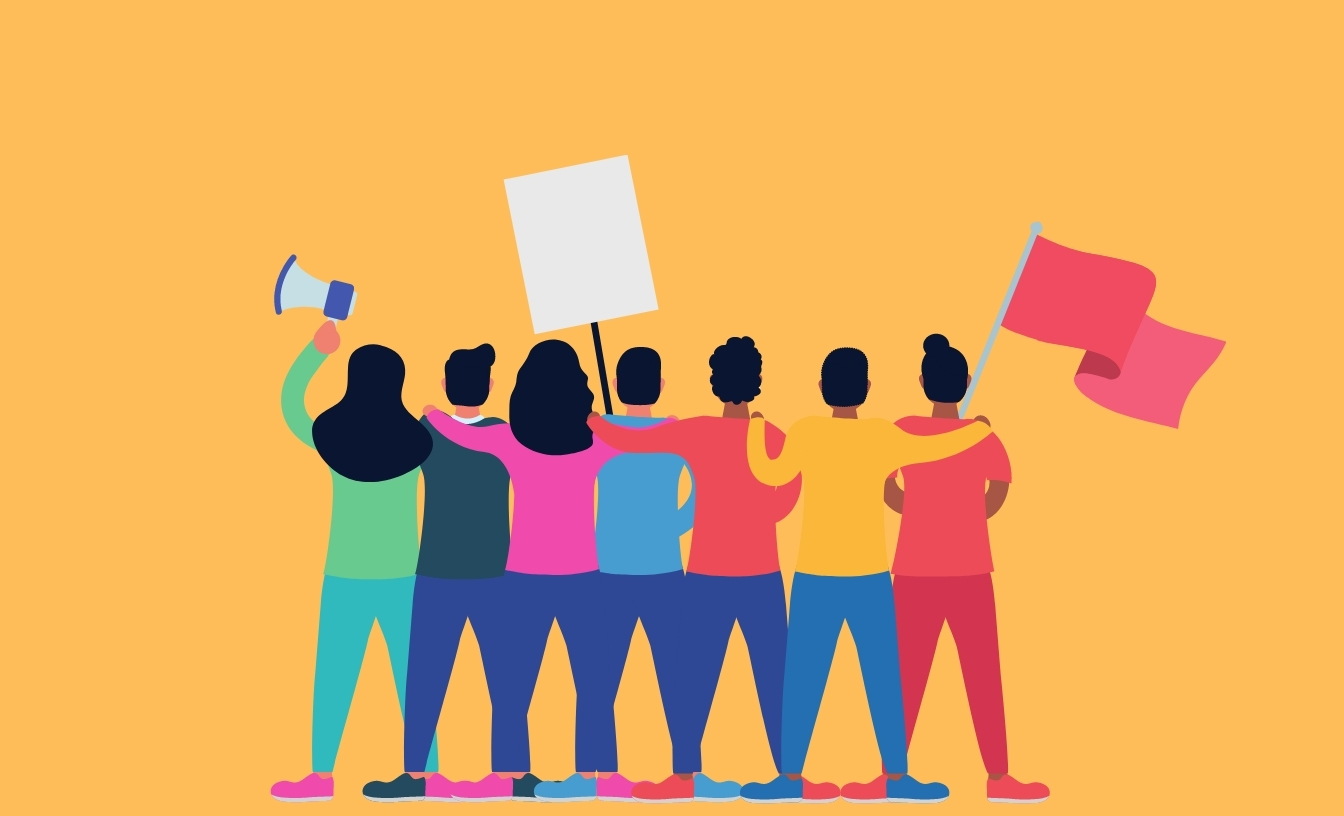 Illustration of a multiracial group of individuals who are protesting. Their backs are facing us and each have their arm around the person next to them