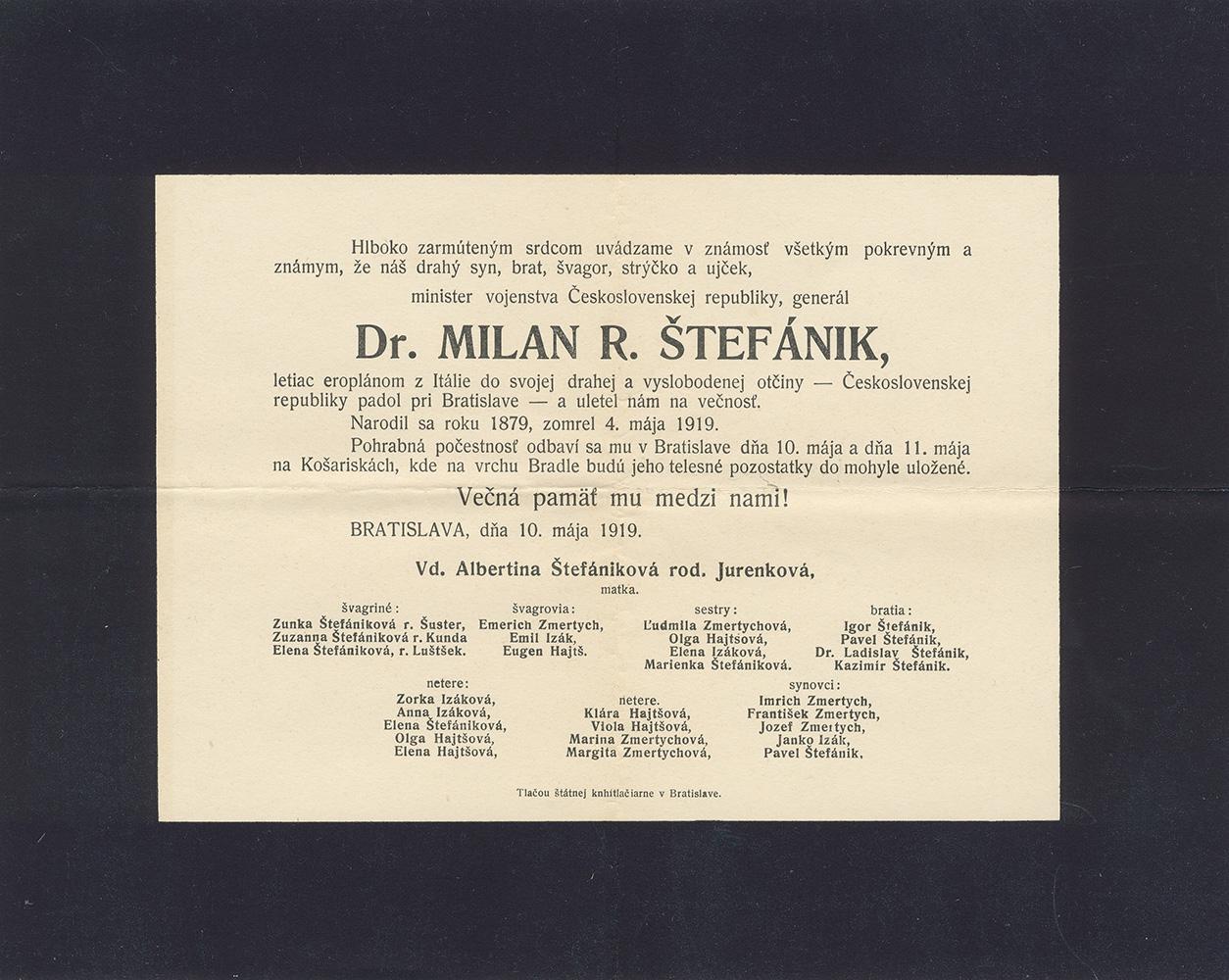 Avis commémoratif du décès de Milán R. Štefánik, Bratislava (Slovaquie), 10 mai 1919