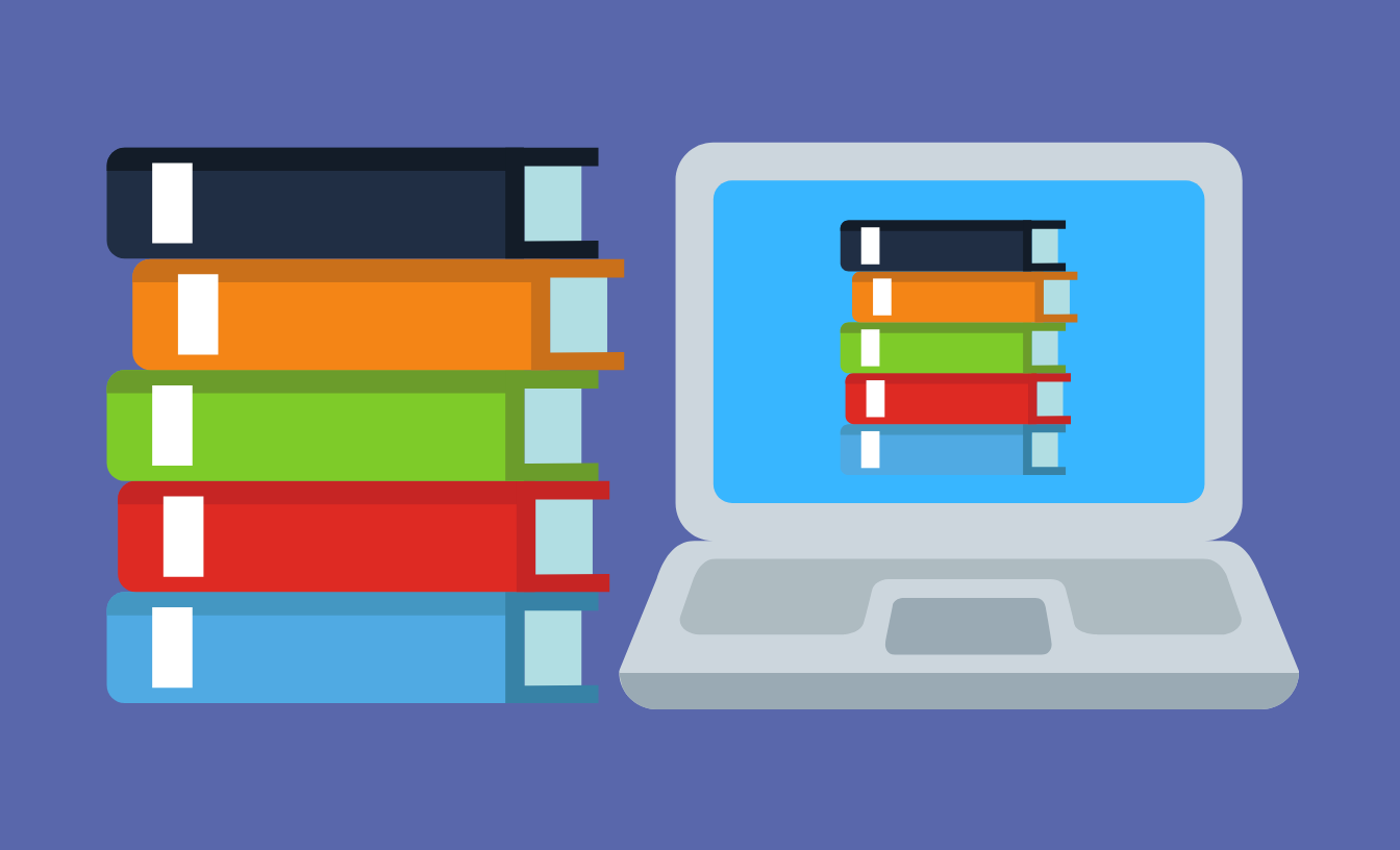 A stack of books next to a laptop, and its screen displays the same stack of books.