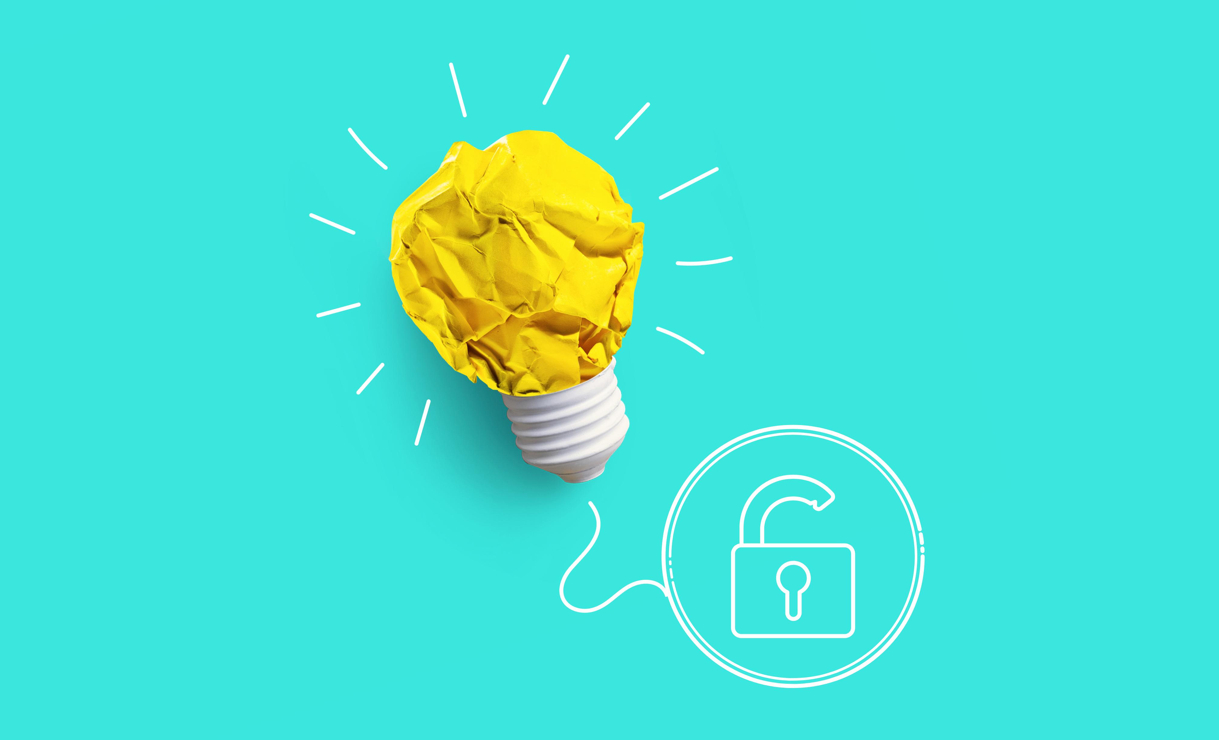 Une ampoule en papier reliée à un cadenas ouvert symbolisant l'accès ouvert.