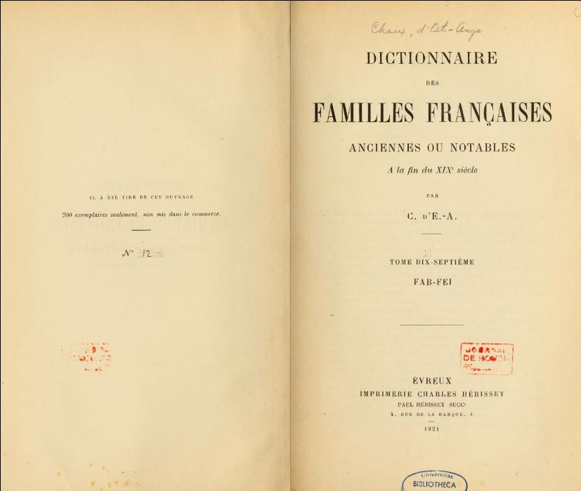 "Title page from ""Dictionnaire des Familles Françaises"" from 1924"