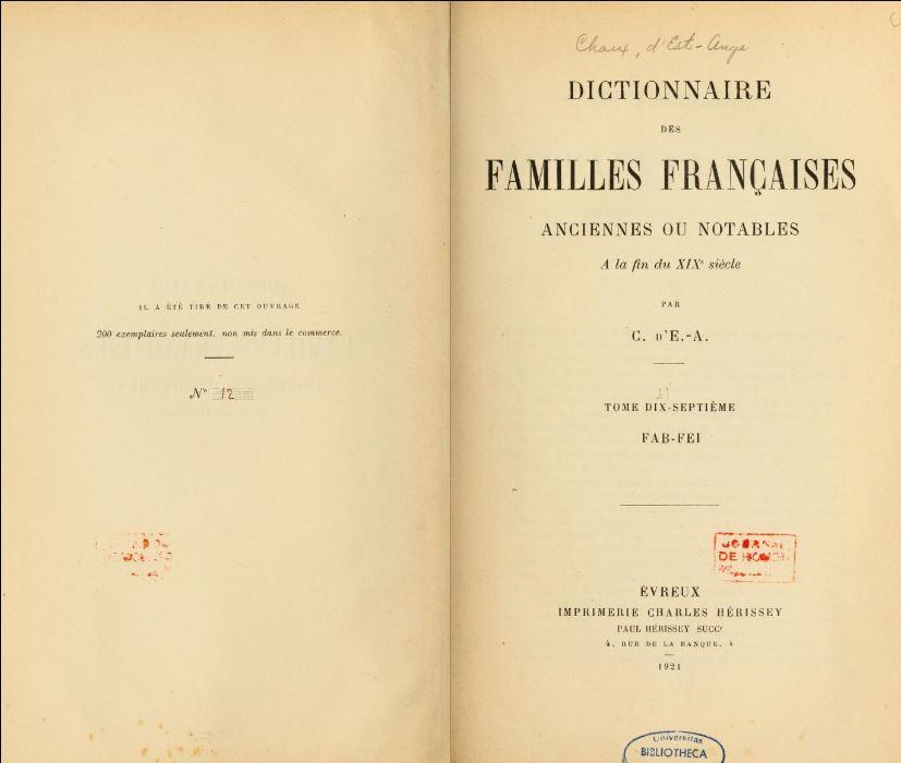 Page titre du « Dictionnaire des familles françaises » de 1924