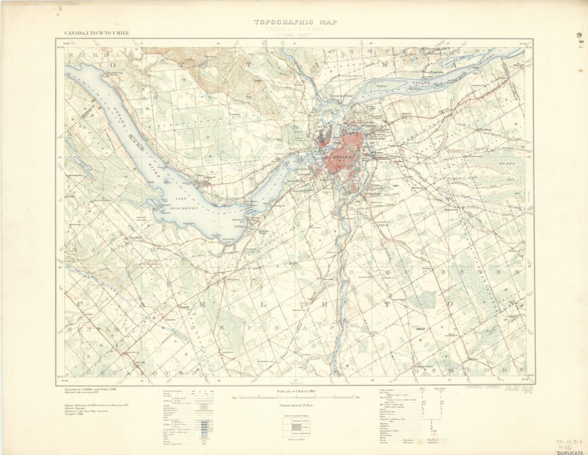 Historical topographic map of the Ottawa region at a 1 :63,360 scale.