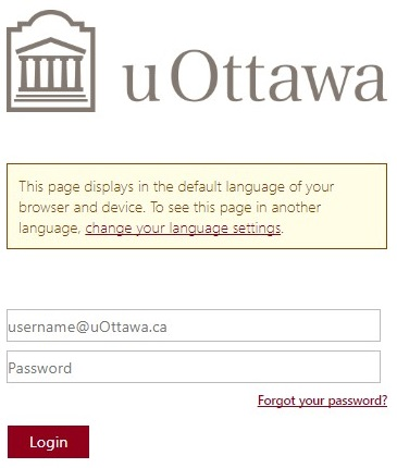 uOttawa login screen