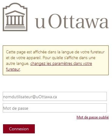 page de connexion de l'Université d'Ottawa