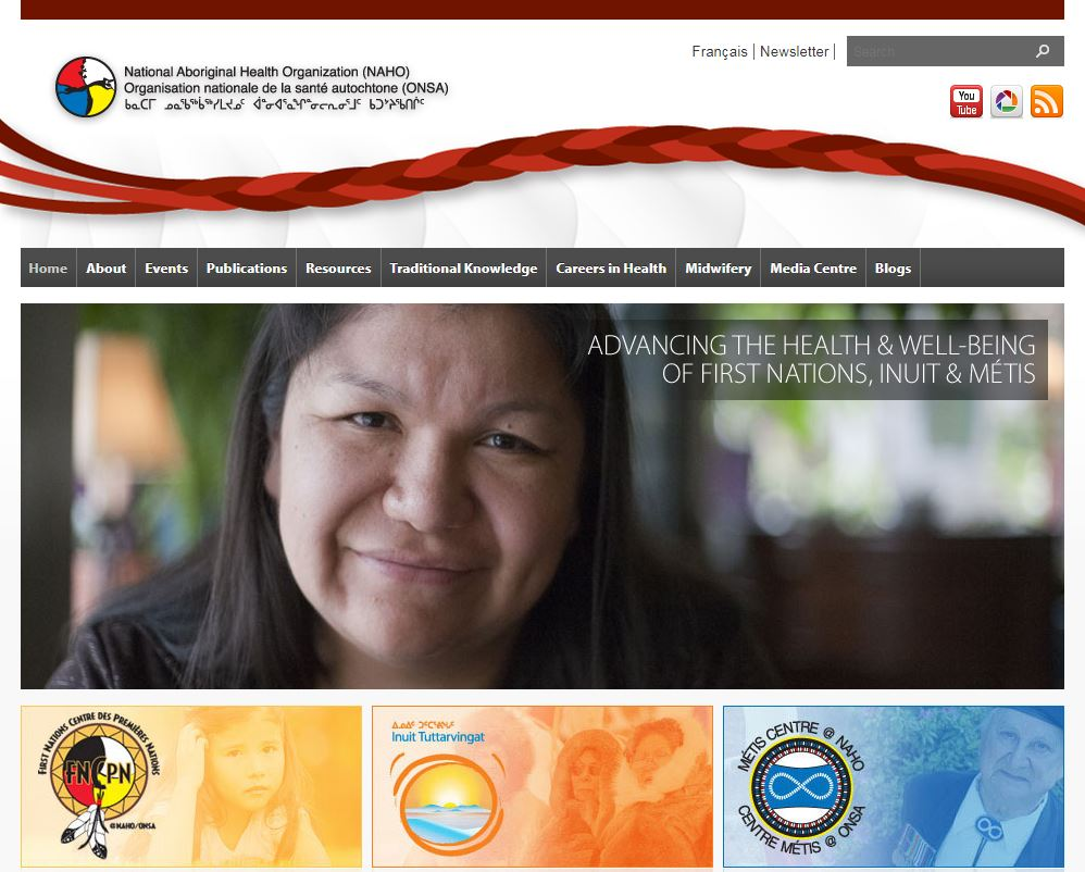 Screenshot of the National Aboriginal Health Organization website captured in 2017