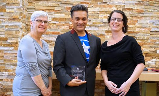 Librarian Leslie Weir, Dr. Raywat Deonandan and Scholarly Communications Librarian Jeanette Hatherill