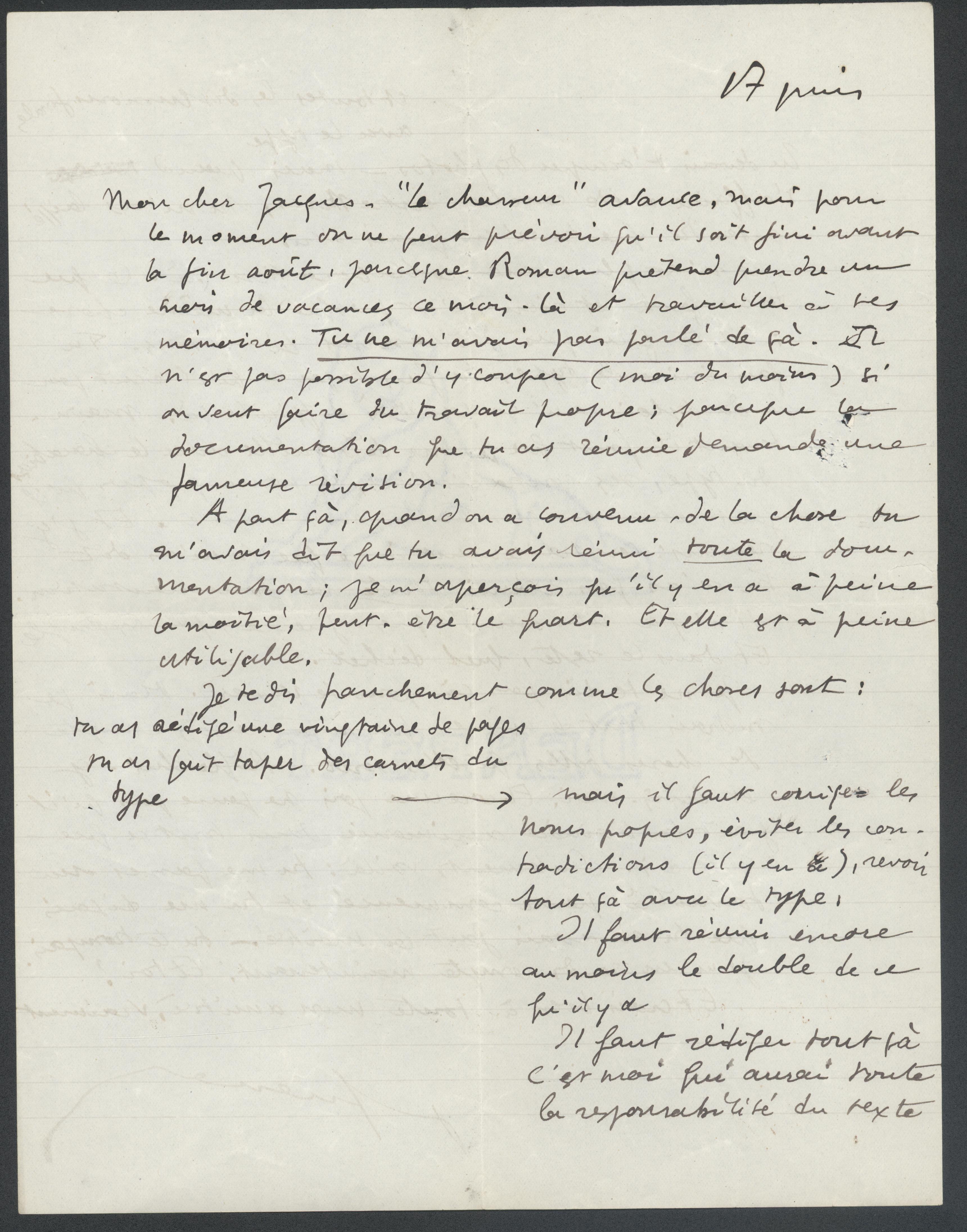 Lettre Queneau-Baron