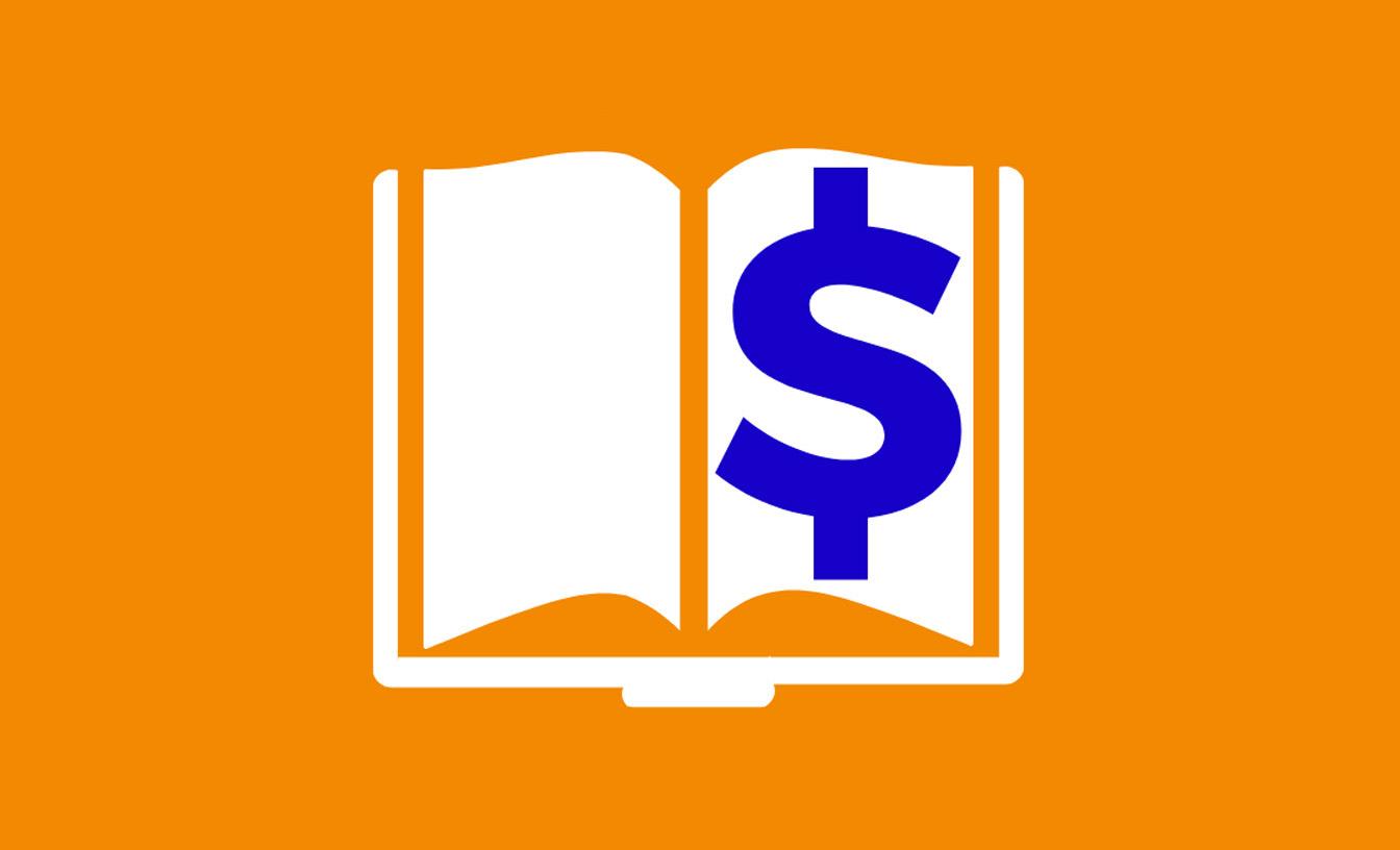 Illustration d'un livre avec un signe du dollar