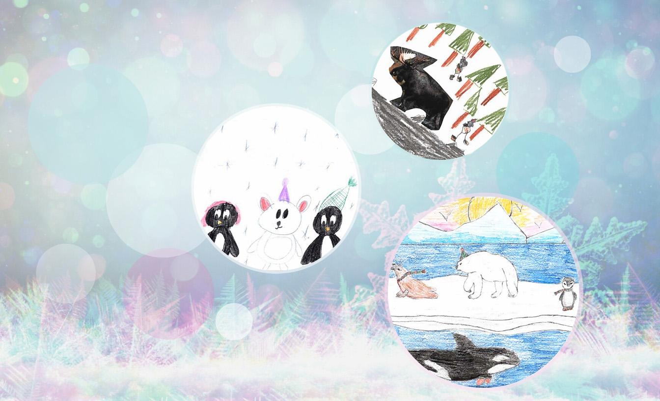 Trois boules avec de l'art des fêtes pour enfants.