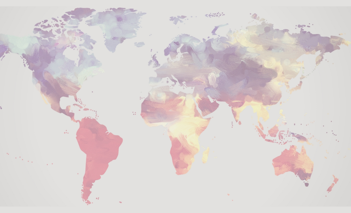 Watercolour painted map of the world